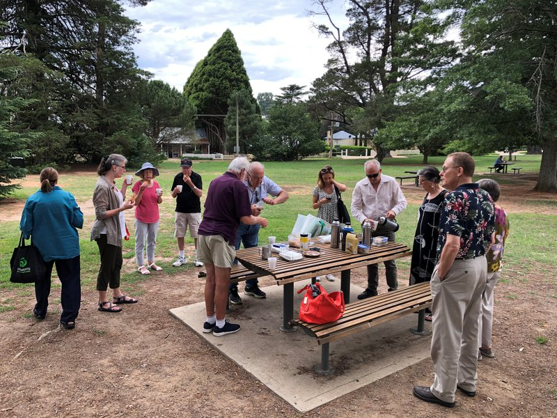 Members have morning tea in Berrima