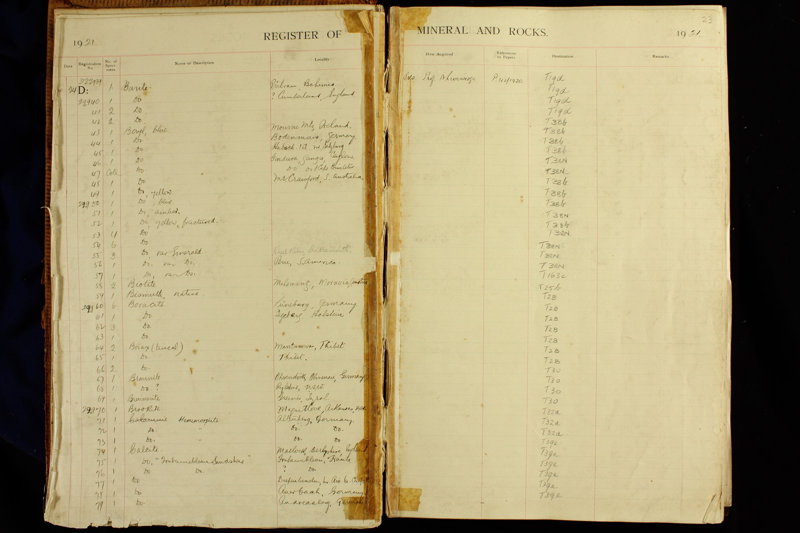 Mineralogy Register D4 (1921) page 23: 22939 to 22979