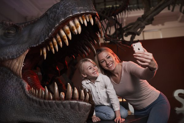 Mum and Daughter with T.Rex