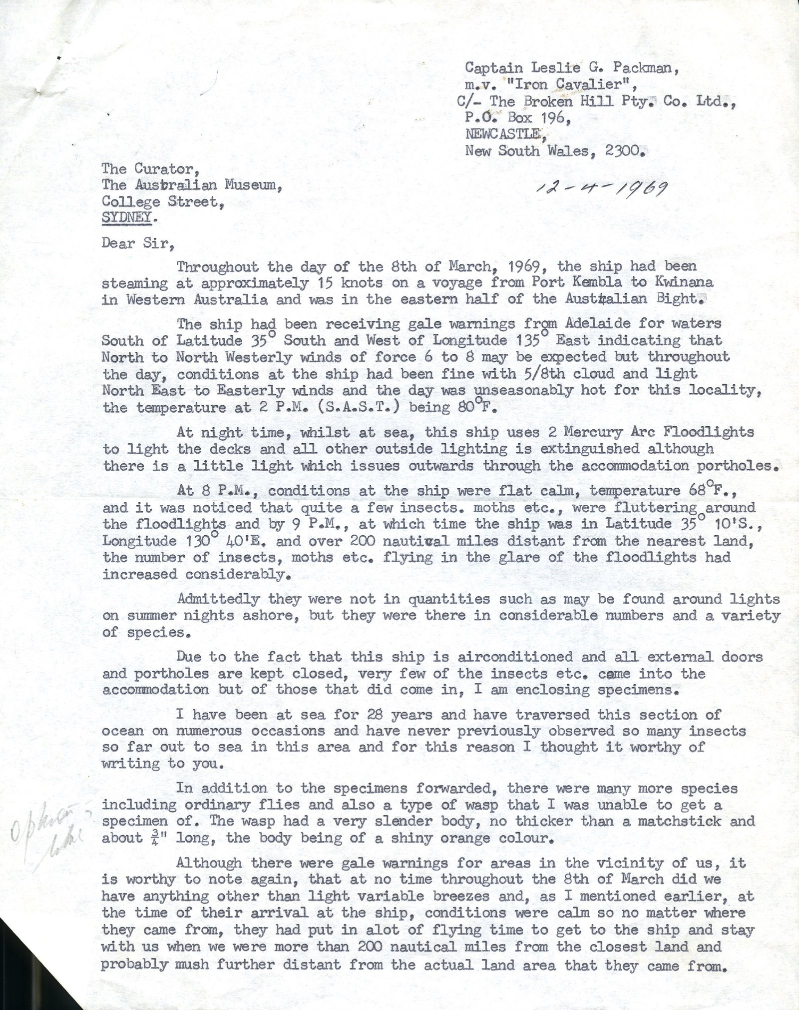 Packman enquiry, 1969. Page 1