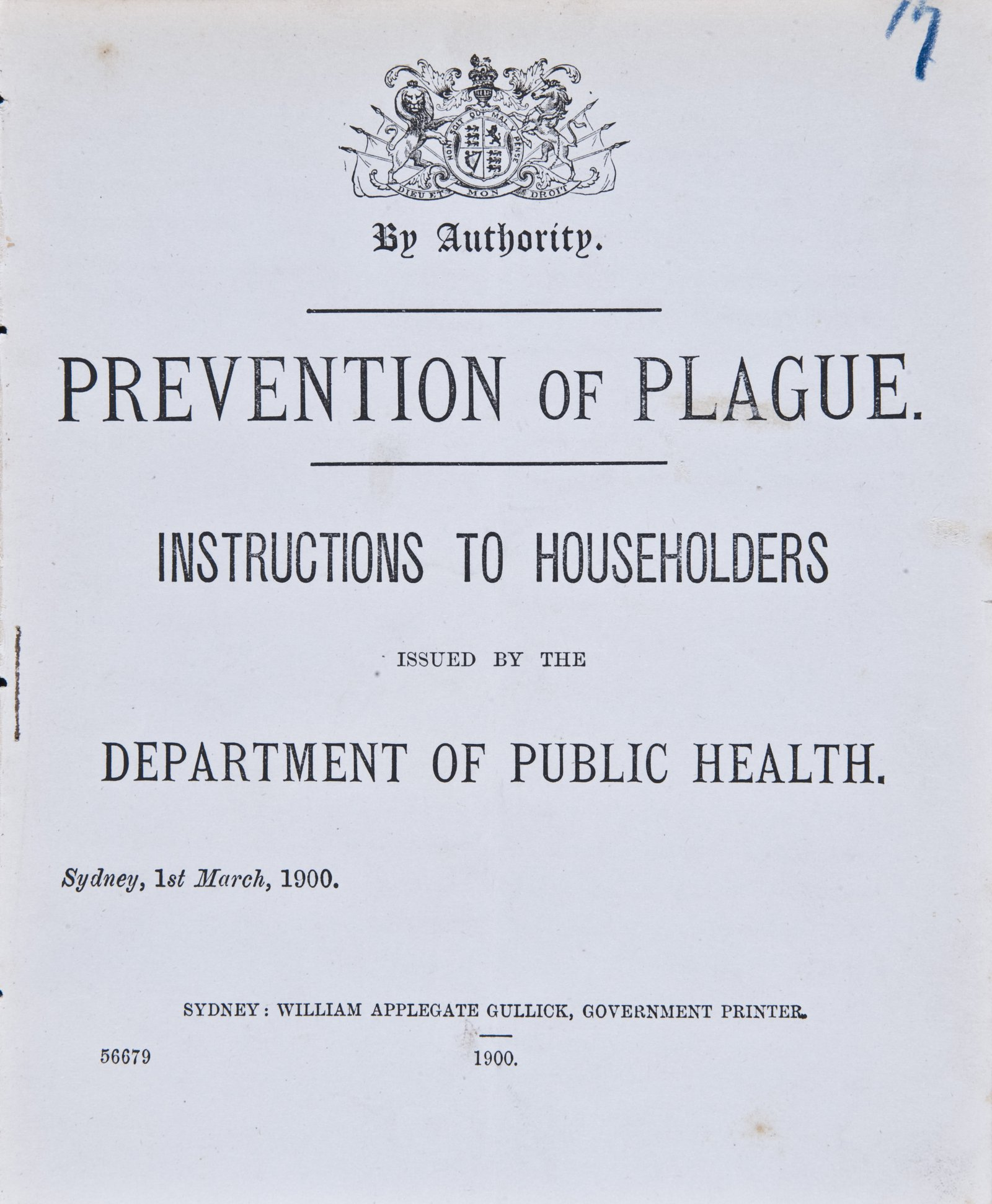 Prevention of Plague. Instructions to Householders - Page 1