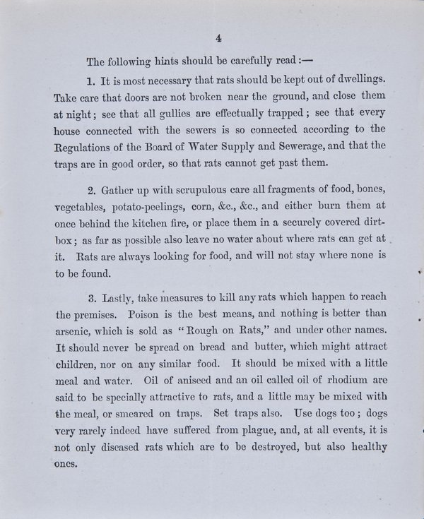 Prevention of Plague. Instructions to Householders - Page 4