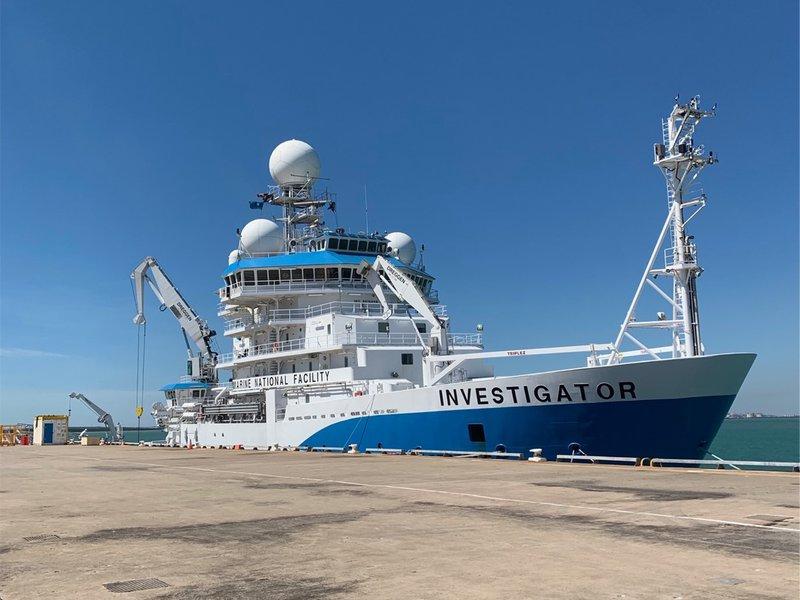CSIRO research vessel Investigator at Fort Hill Wharf, Darwin, 27 June 2021.