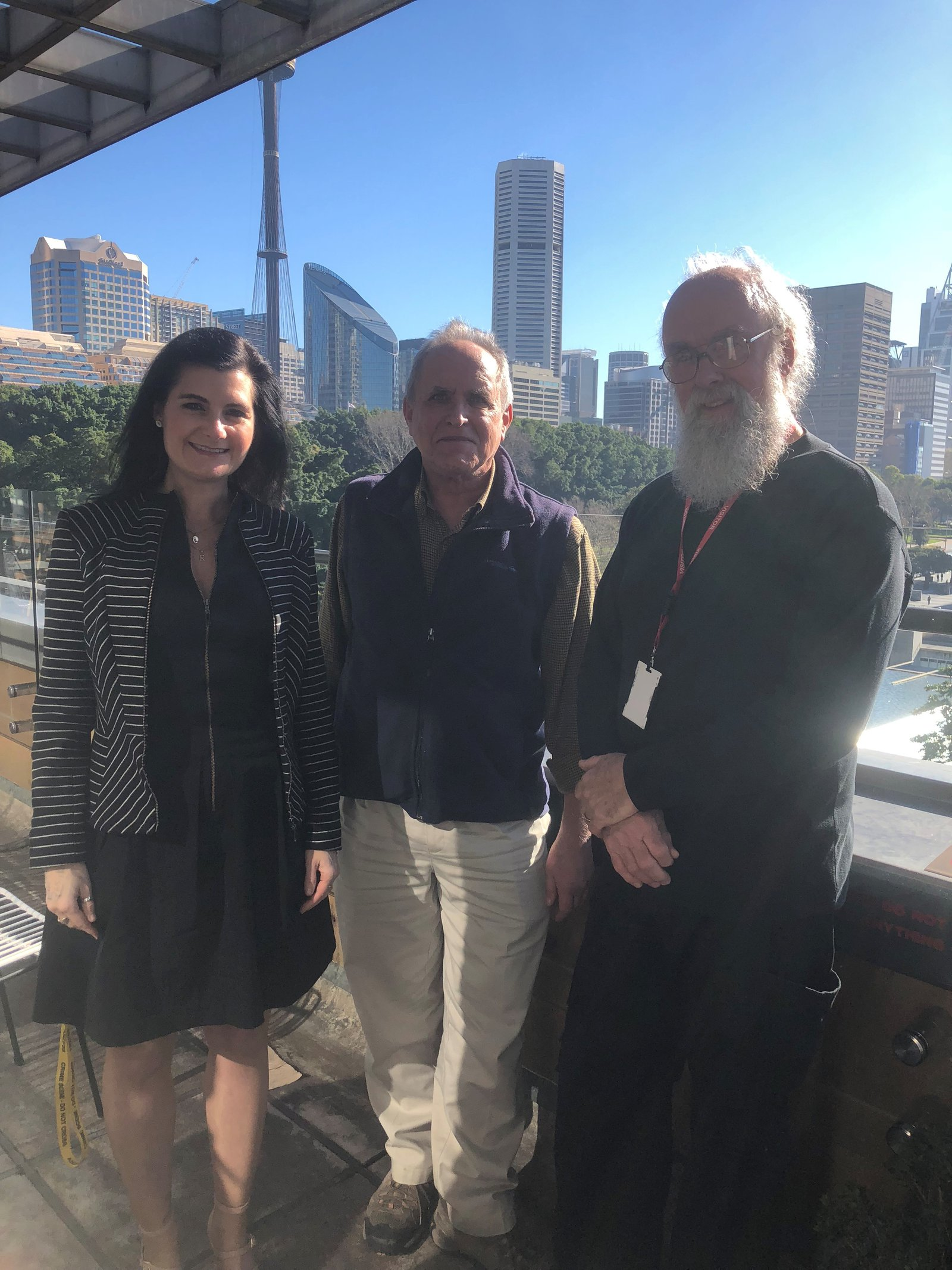 Research Associate Dr Geoff Williams AM with Dr Rebecca Johnson and Dr Dan Bickel