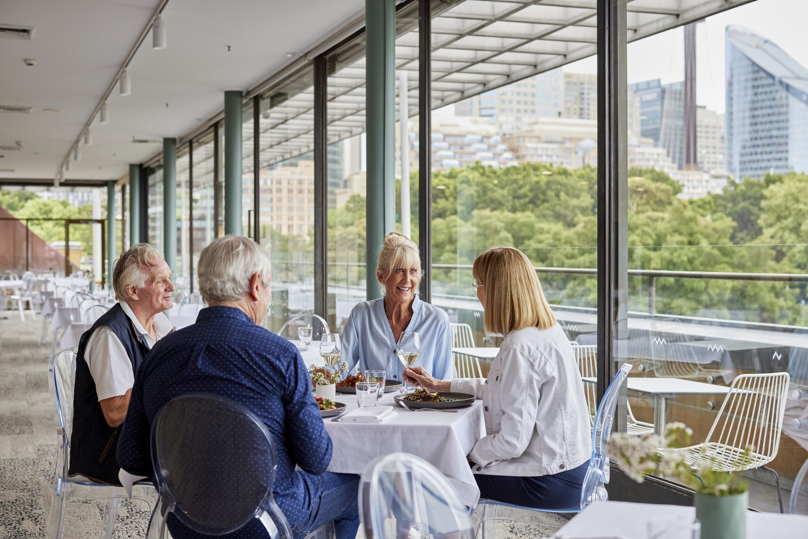 Retirees eating lunch in No 1 William