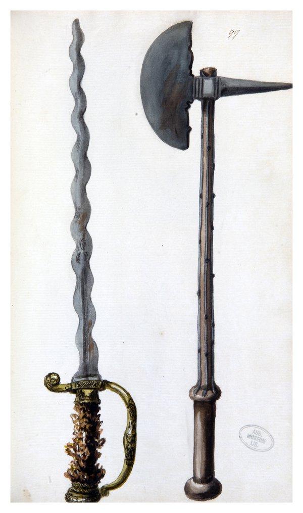 Sarah Stone Watercolour Sword and Axe