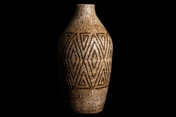 "Scarred (Ancestral Vase), 2020, Uncle Kevin ""Sooty"" Welsh, Wailwan. Stoneware No. 7. Australian Museum Collection."