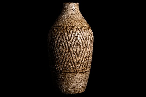 """Scarred (Ancestral Vase), 2020, Uncle Kevin """"Sooty"""" Welsh, Wailwan. Stoneware No. 7. Australian Museum Collection."""