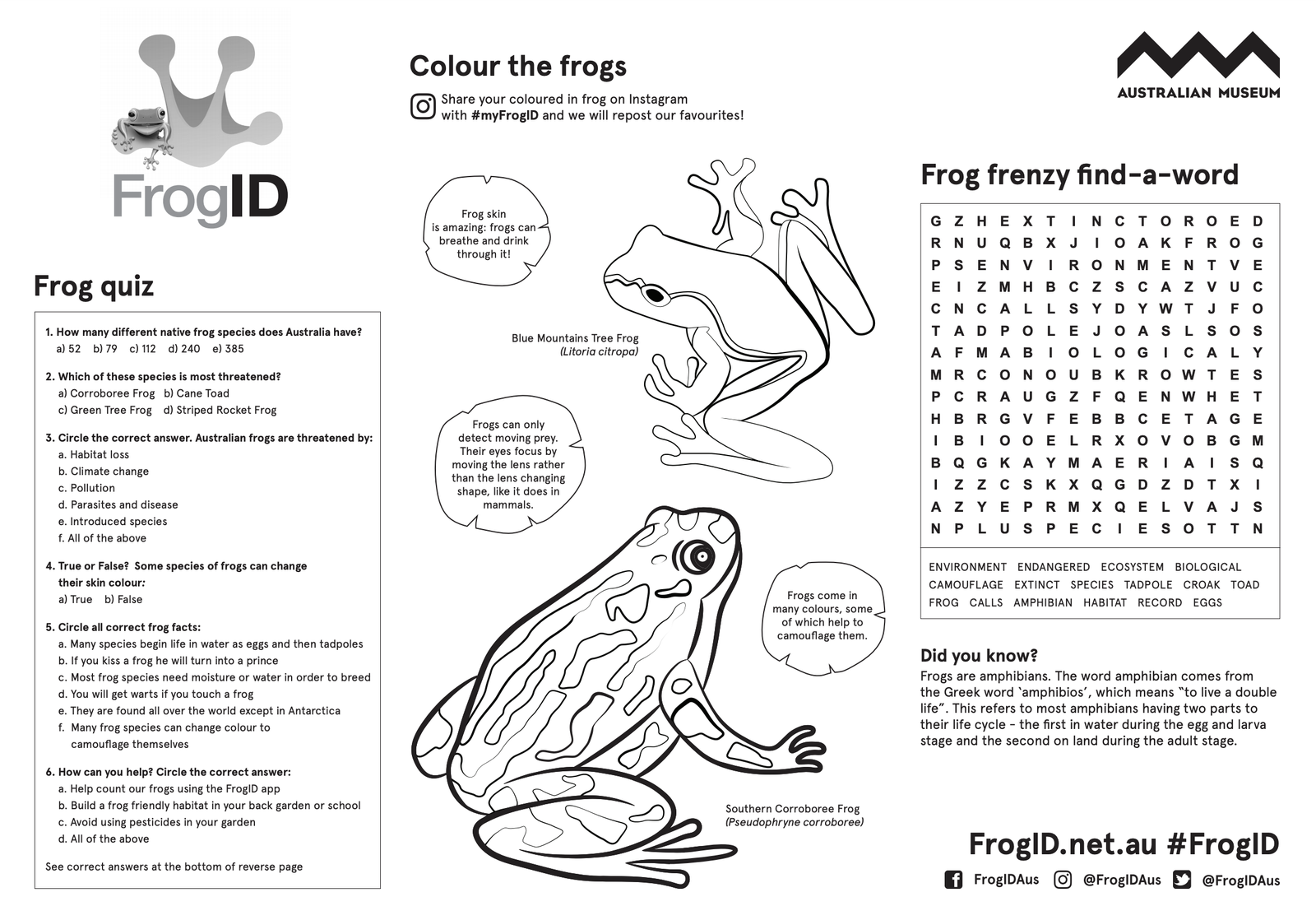 FrogID activity sheet