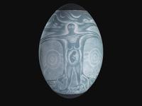 Carved emu egg written by Fleur Magick Dennis