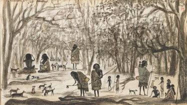 Sketch of women gathering murrnong (daisy yam), accompanied by children and dogs. By squatter Henry Godfrey, in 1842, most likely in the Goulburn River region north of Melbourne.