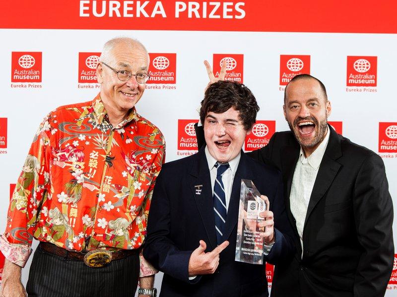 2013 Eureka Prizes Award Dinner Brandon Gifford, Dr Karl and Adam Spencer