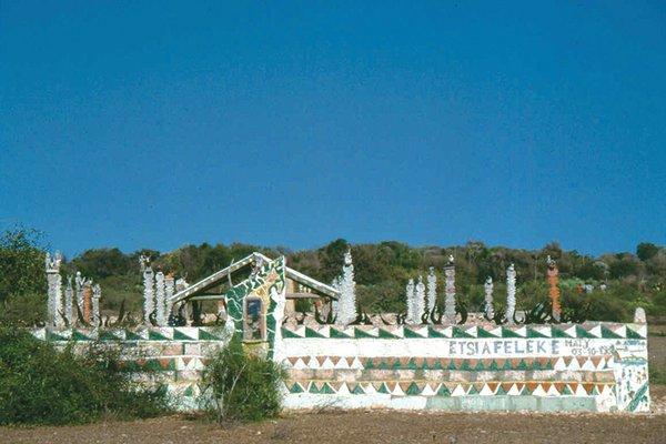 Mahafaly tomb with aloalos