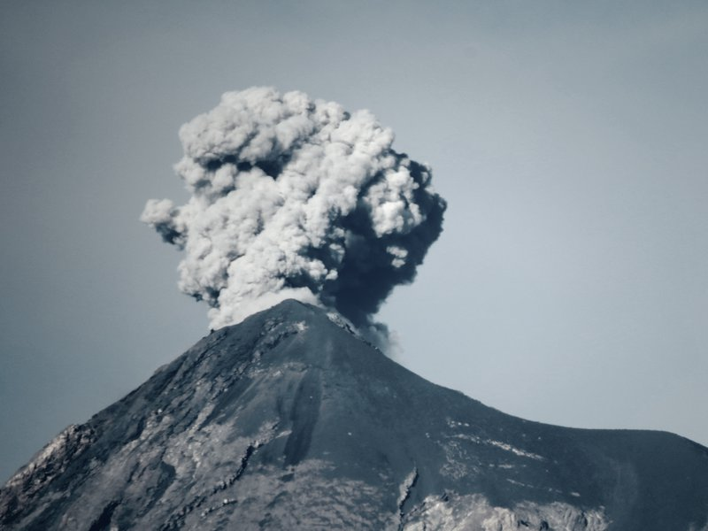 Pyroclastic plume on a volcano