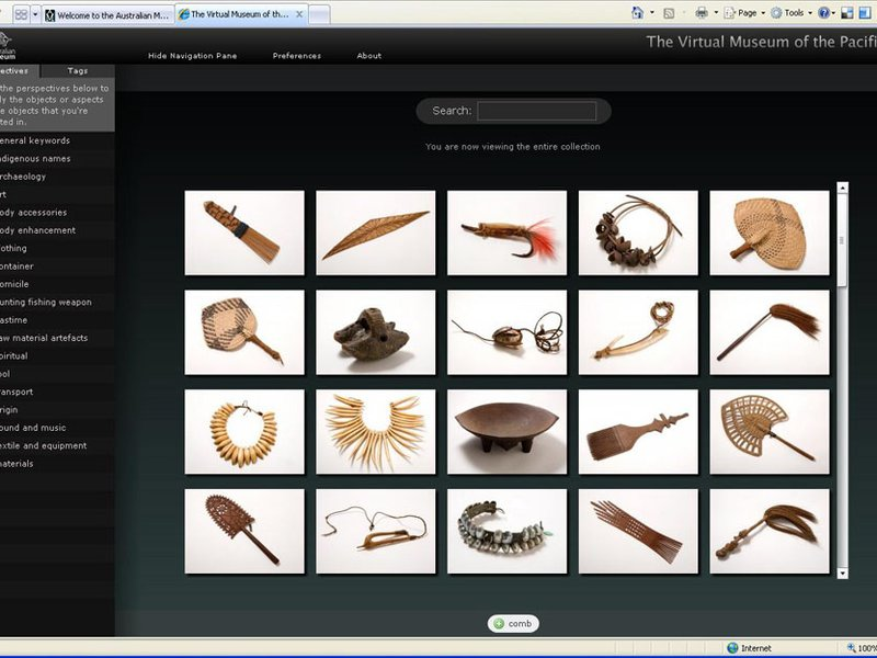 Virtual Museum interface
