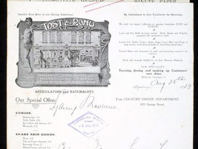 Letter Tost & Rohu 1913