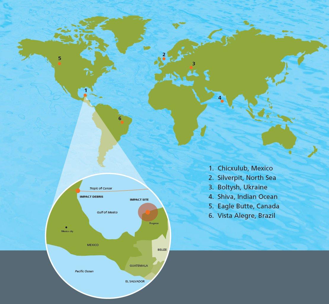 Meteorite impact site map