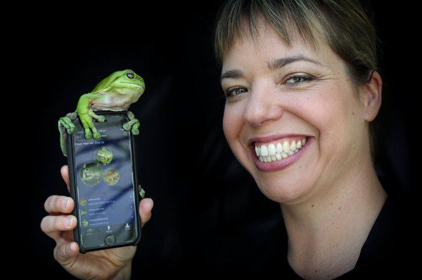 Dr Jodi Rowley with the FrogID app