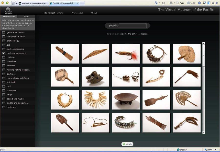 Virtual Museum interface