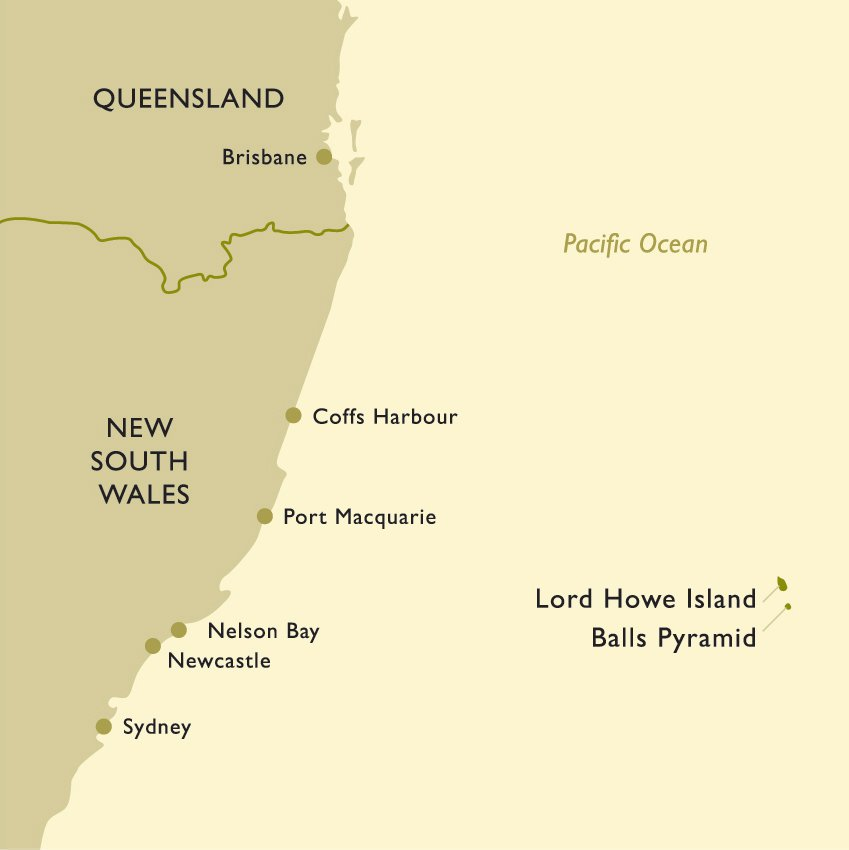 Lord Howe Island & balls Pyramid Map