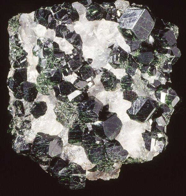 Uvarovite garnet in quartz