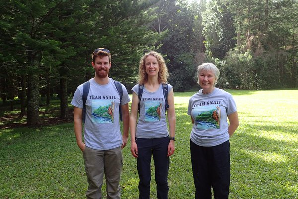 Image of Team Snail on Norfolk Island. Andrew Daly, Isabel Hyman and Mandy Reid on Norfolk Island.