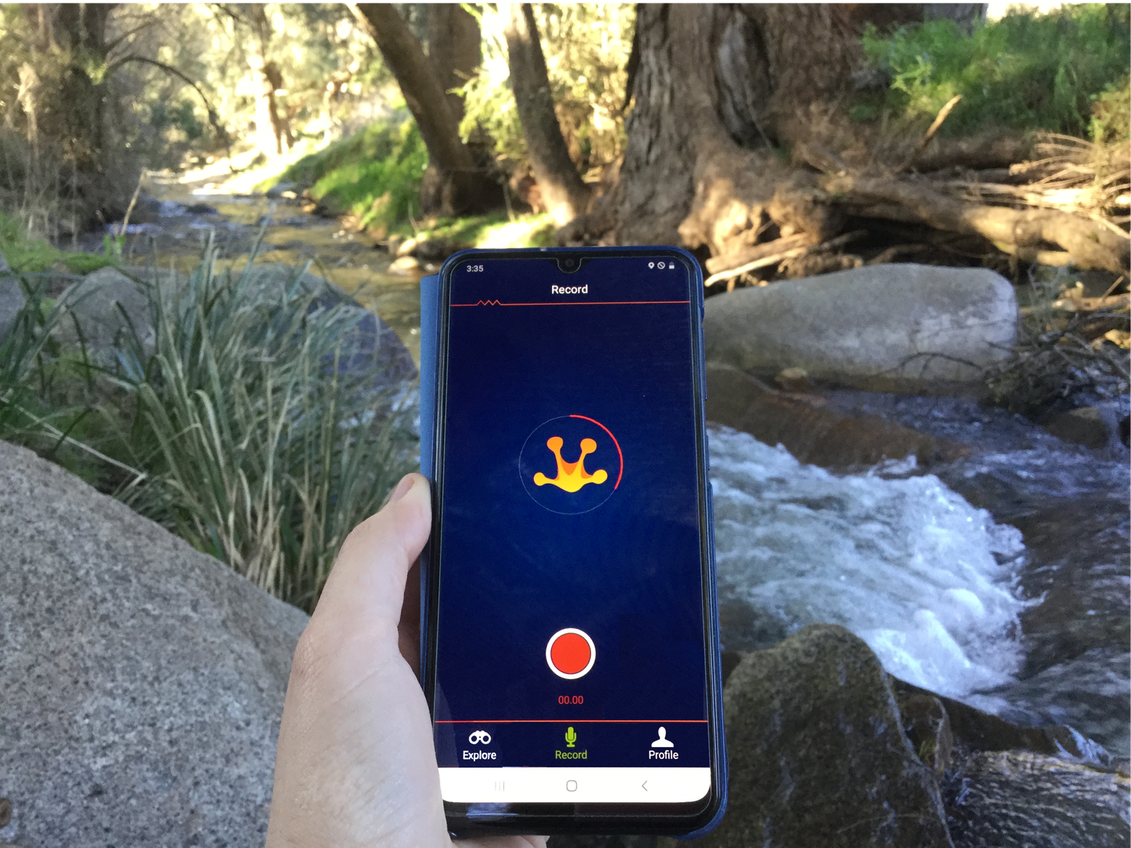 Using the FrogID app to record frog calls
