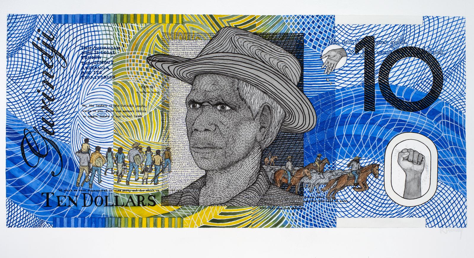 Vincent Lingiari am (1919-1988) Blood Money – Ten Dollar Note – Vincent Lingiari Commemorative 2011
