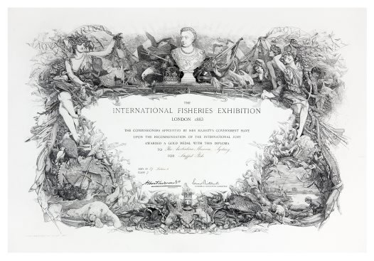 Diploma awarded to the Internal Fisheries Exhibition, 1883