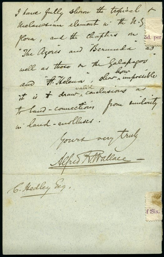 Alfred Russel Wallace to Charles Hedley Oct 1892 p4