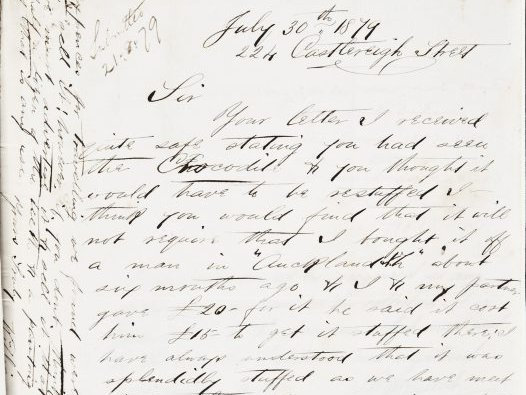 Letter from William Cash to Edward Ramsay