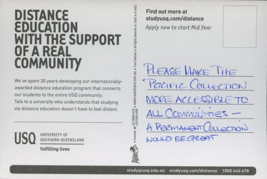 Community Consultation Pacific Galleries Post Cards, 17th June 2009