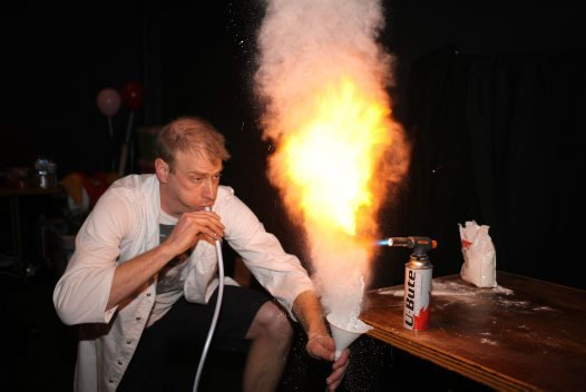 Dr Rob Bell from Scope (Channel 10) with his Corn Flour Fireball