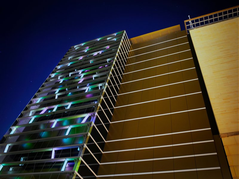 Exterior of building at night