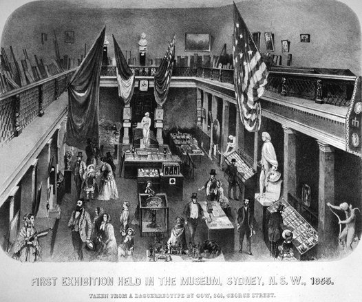 Artist's impression of the interior of the 'Great Hall' during the first exhibition held in the new Museum building 1854/55.