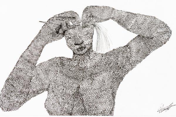 Weaving Woman, 2019, Genevieve Stewart, Kuku Yalanji. Ink on paper. Australian Museum Collection.