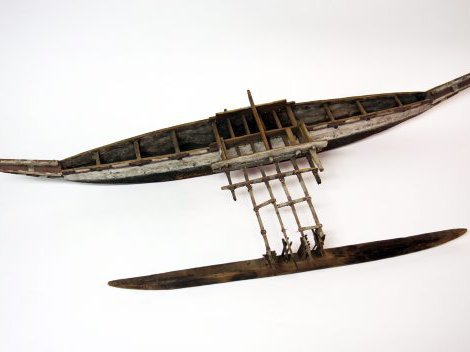Model of dugout canoe