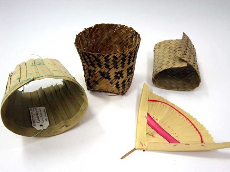 Offering set made from palm leaf called ental, Bali, Indonesia.