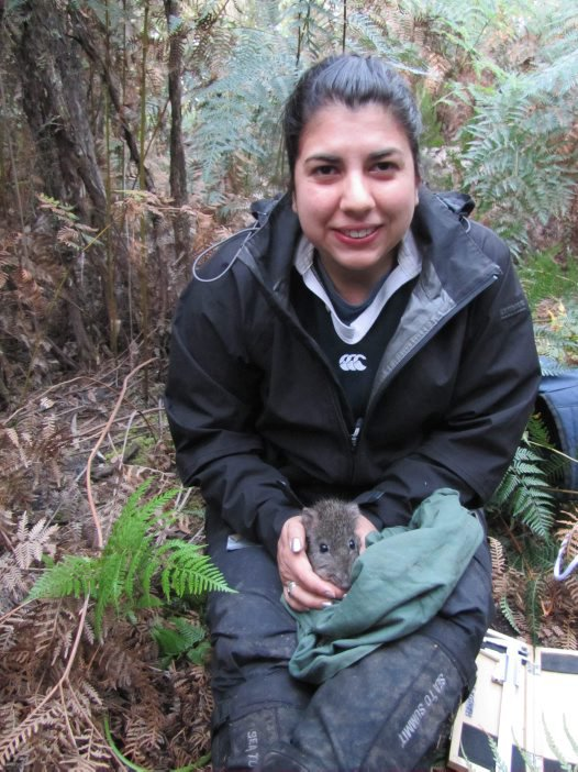 Greta Frankham with a long-nosed potoroo