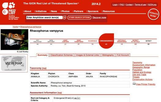 Vampire Flying Frog on IUCN Red List (2014)