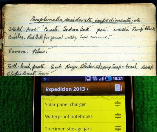 Comparison of expedition lists made by scientists