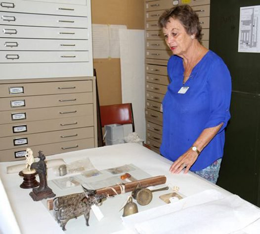 Louise Minutillo viewing selected artefats from R E Roth collection. Australian Msueum 17 March 2015.
