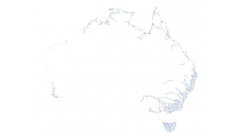 Map of Australia's permanently flowing rivers and stream systems