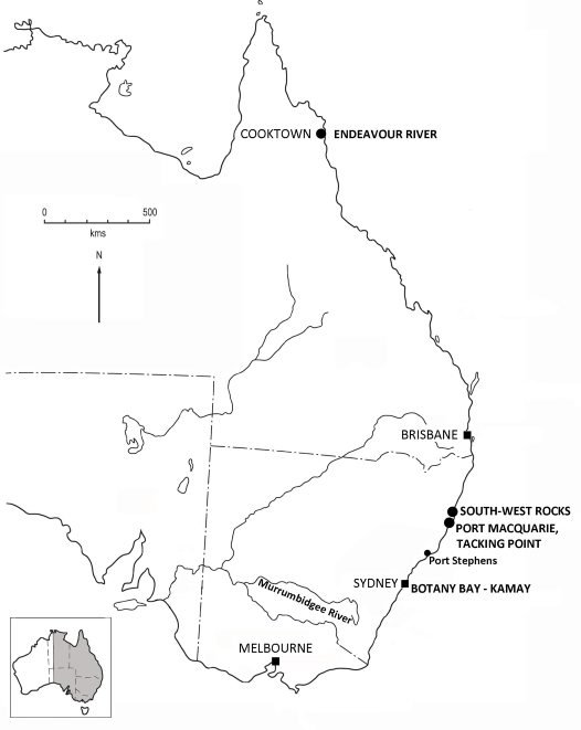 Map of eastern Australia showing locations mentioned in blog