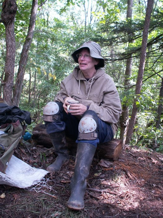 Robin Torrence relaxing in the field in Far East Russia