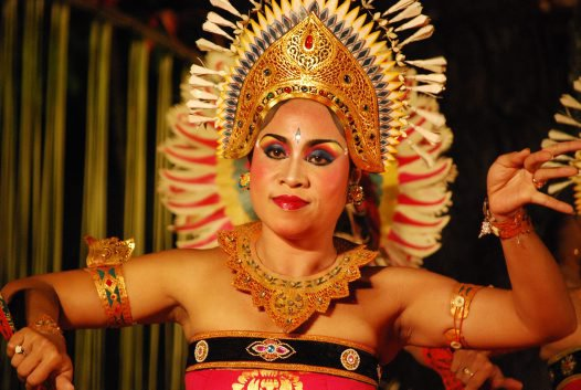 Dancer from Cahya Warsa Dance Group at the Pura Taman Saraswati temple in Ubud, Bali.