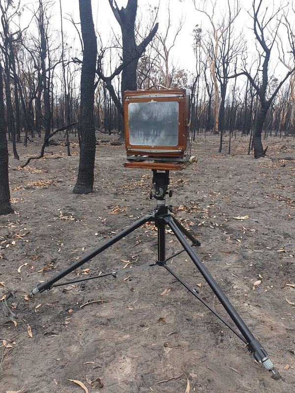 This is an image of a camera used by a gentleman who was taking photos on an old school camera and capturing the images on glass plate. The images were super sharp and showed the utter devastation of the bushfires.