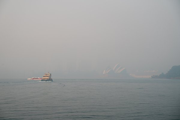 Bushfire smoke haze hangs over the city of Sydney