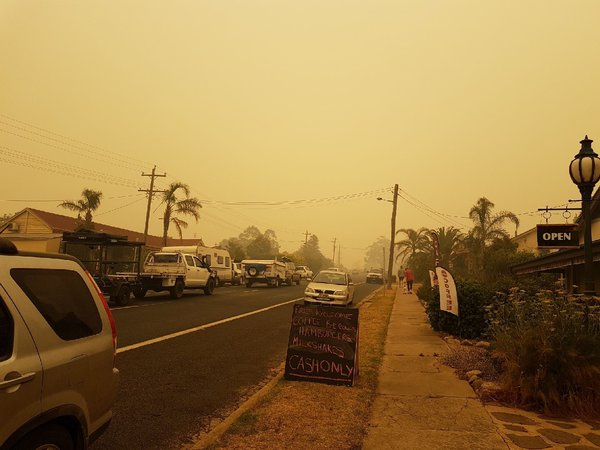 Thousands of Christmas holiday makers stranded at the NSW south coast and forced to evacuate through Brown Mt. Pass through small towns such as Nimmitabel…with food and water supplies becoming scarce as surrounding bush fires force all supply roads closed.