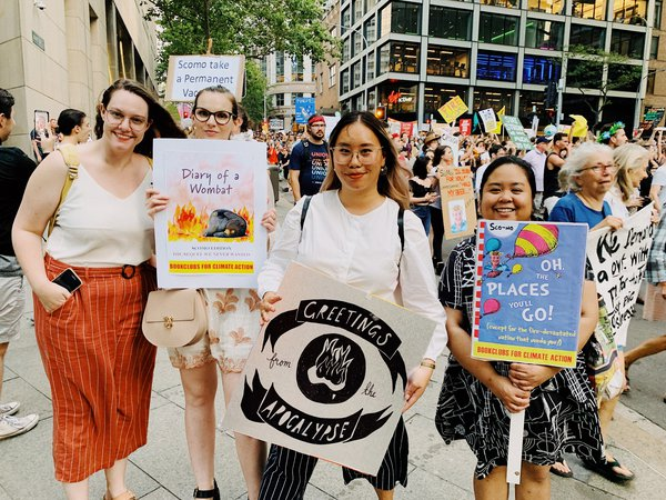 10 January 2020 - me and my friends with our signs at the Climate Protest (my first one).